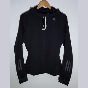 adidas NEW Black Lightweight Hooded Zip Up Jacket